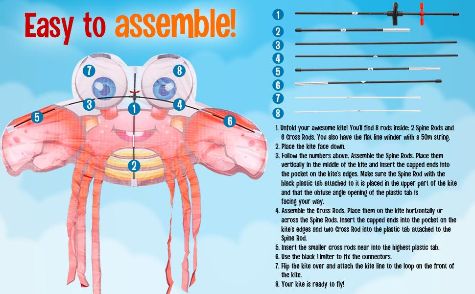 How to assemble a crab kite?