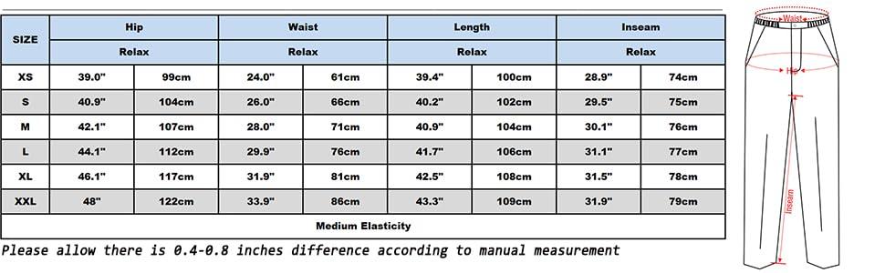 womens hiking pants size chart