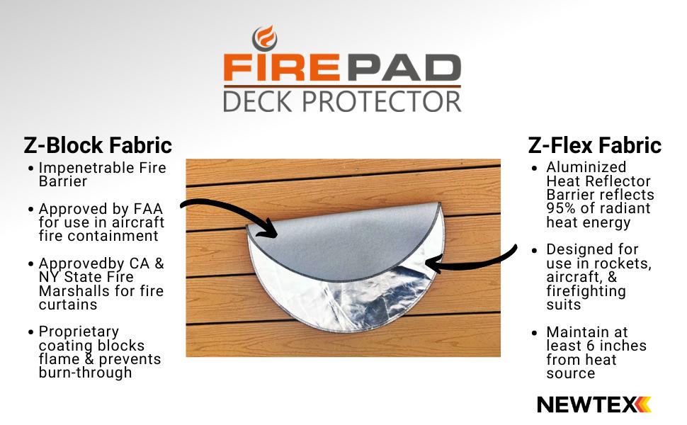 FirePad Deck Protector heat shield aluminized fabric ember mat grill z flex bbq z block firepit