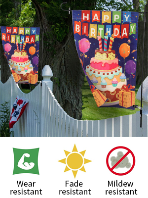 Photo of YISUYA birthday garden flags decorated on a fence. Features: Wear/Fade/Mildew Resisitant