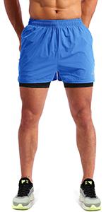 mens 2 in 1 running shorts 5 ''