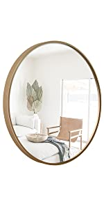 Circle Framed Mirror Champagne Gold