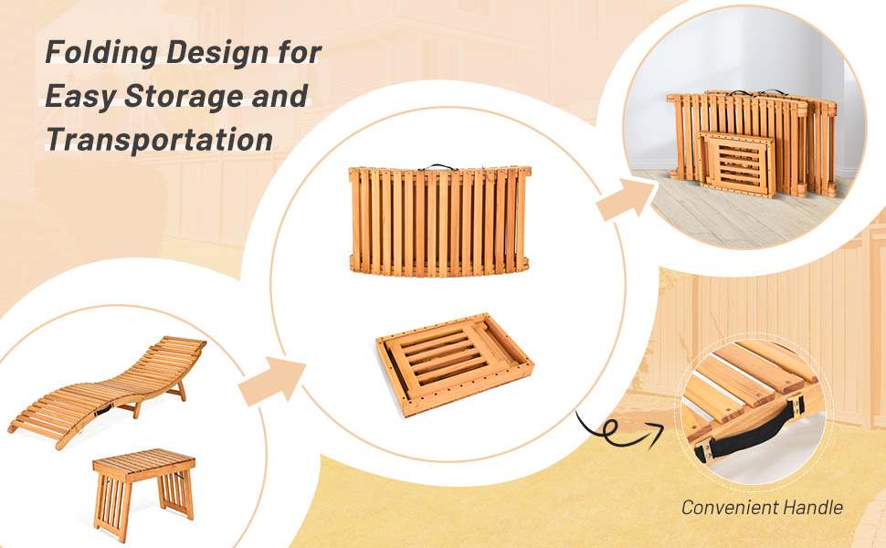 foldable patio chaise set wooden