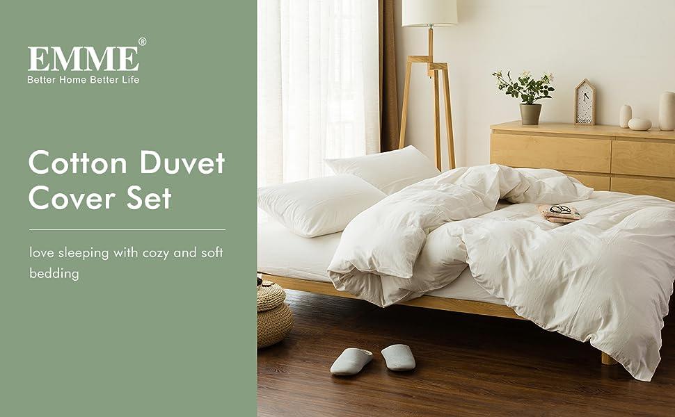 cotton duvet cover set white