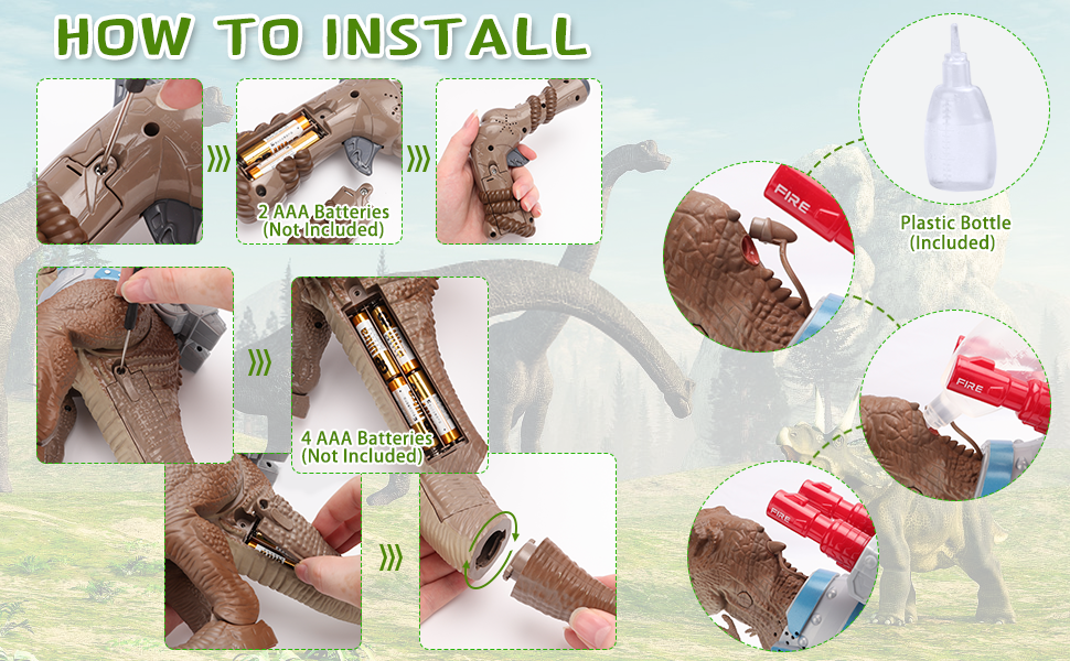 Installation steps of dinosaur toys and toy guns