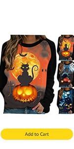 Halloween Lightweight Sweatshirt Womens Sunset Bat Black Cat Pumpkin Shirt
