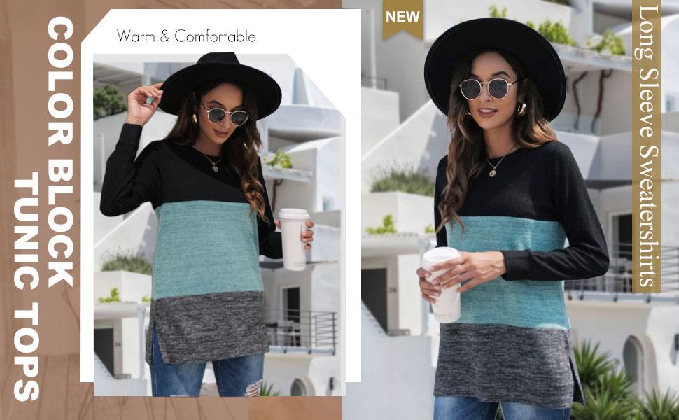 Xieerduo Long Sleeve Shirts For Women Fall Tops Casual Sweaters Tunics Leggings