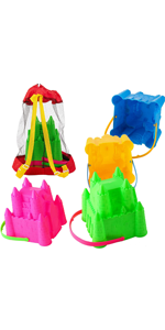 4 Castle Beach Buckets Toy Set with Mesh Bag