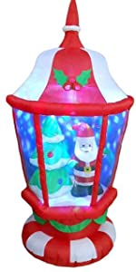 6 Foot Tall Lighted Christmas Inflatable Lantern with Santa and Tree