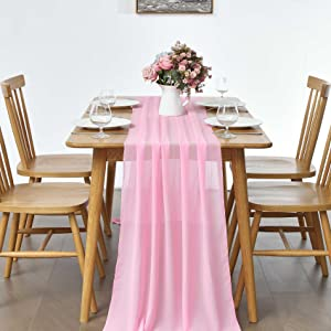 pink chiffon table runner