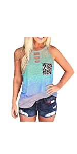 Tank Tops for Women Casual Summer Tie-Dye Sleeveless Tank Top with Leopard Pocket