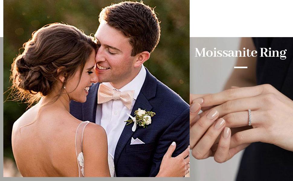 moissanite wedding band 0.42ct