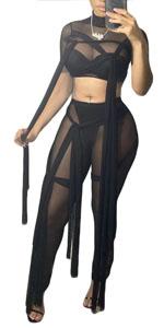 mesh bodycon jumpsuit for women 2 piece