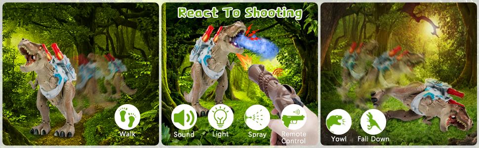 The toy gun is shooting the walking roaring lighting spray dinosaur trex