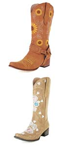 heelchic Women Floral Embroidered Cowgirl Boots Chunky Heel Mid Calf Western Boots