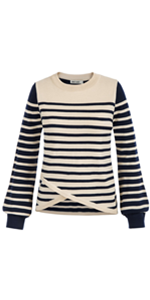Women Long Sleeve Crew Neck Jumper Autumn Winter Sweater Striped Daily Pullover