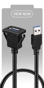 BATIGE - SQUARE USB 3.0 CAR MOUNT FLUSH CABLE view now