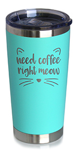 Text says Need Coffee Right Meow, with cute cat ears and whiskers.