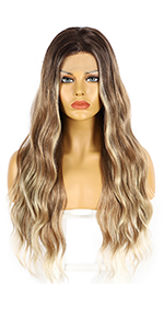 Ombre blonde synthetic lace wigs