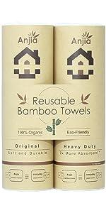 Anjia Reusable Bamboo Towels Combo