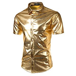 Mens Metallic Shiny Nightclub Styles Short Sleeves Button Down Dress Shirts