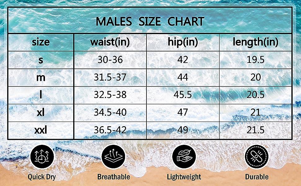 Mens Swim Trunks Size Chart