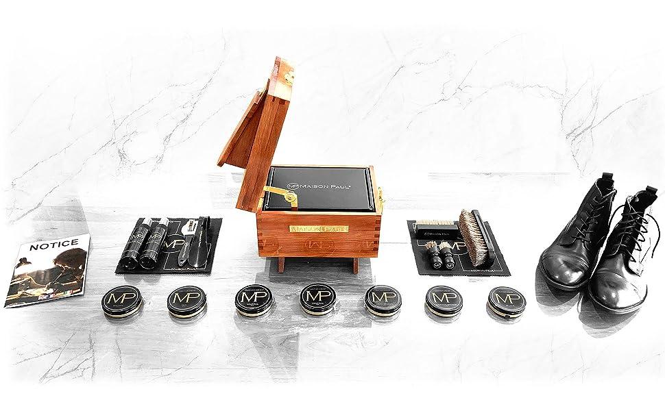 kit de cirage avec son coffret en bois de pin Maison Paul