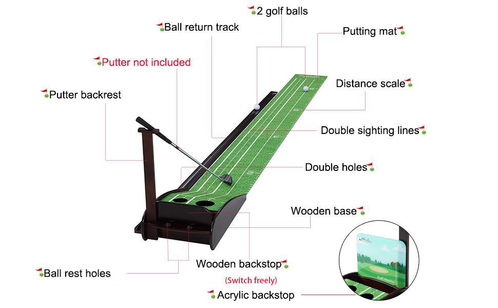 Wood Golf Putting Green Mat Practice Putting Mat with Auto Ball Return