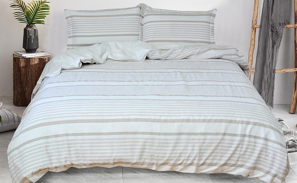 Merryfeel Cotton Yarn Dyed Stripe Duvet Cover Set, Textured Duvet Cover ,Ivory Beige