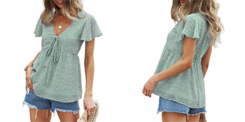 Ladies ruffle short sleeve chiffon blouse