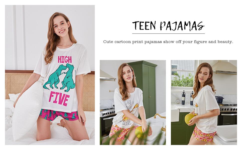 teen pajamas,womens pajama shorts set
