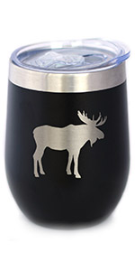 Design of a moose silhouette engraved onto a black wine tumbler