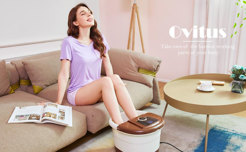 Foot Spa Massager - Heated Bath, Automatic Massage Rollers
