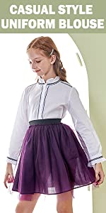 casual style long-sleeve uniform blouse for girls