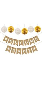 baby shower decorations with rustic baby shower banner and paper honeycombs