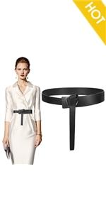 Knot Belts, XZQTIVE Women Faux Leather Tie Belt Dress Waist Belt Non Buckle Jeans Belt