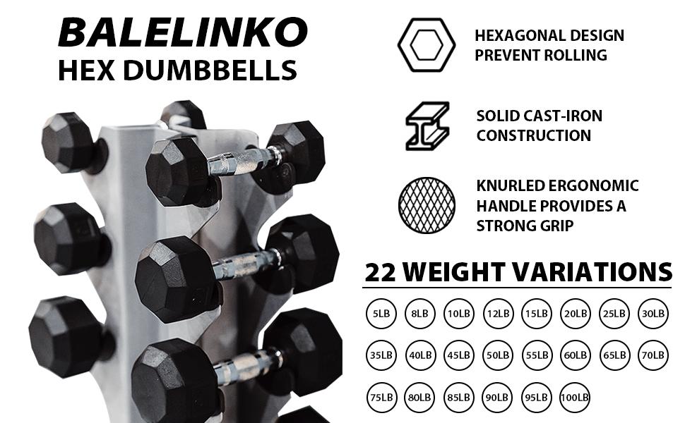 Balelinko Hex Dumbbells Set Free Weight Rubber Coated Cast Iron Hex Black Dumbbell