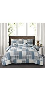 grey blue plaid quilts