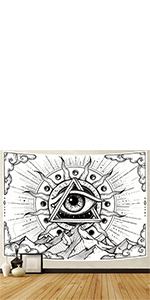 White sun and mountain tapestry
