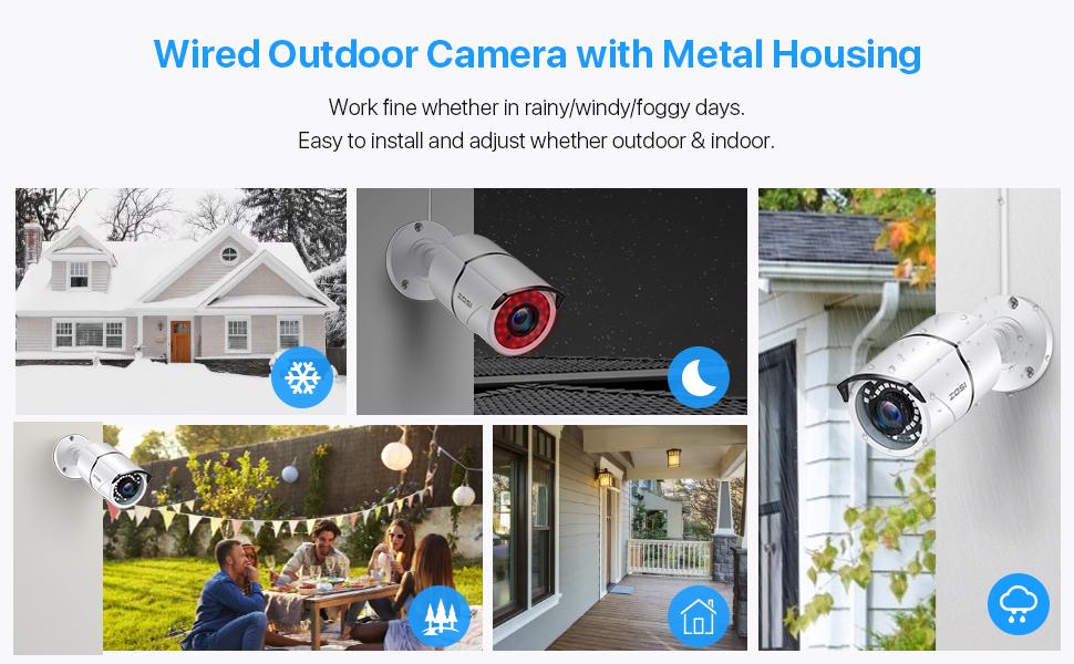 poe outdoor waterproof camera with metal housing