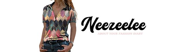 neezeelee 2021 Blouse for Women Casual Fashion V neck Short Sleeve Color Block Shirts Tunic