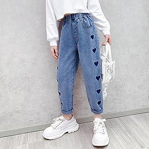 Girls elastic waist slim fit jeans