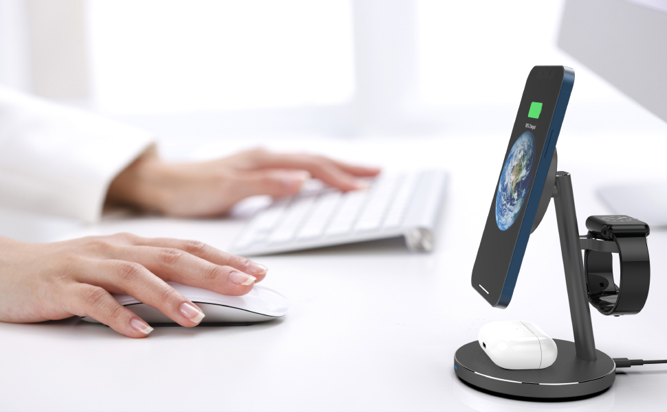 Miromtec magnetic all in one wireless charging dock for multiple apple products