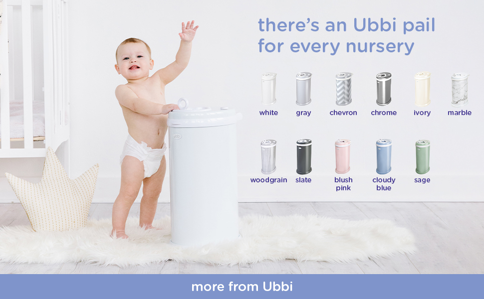 Toddler standing by white Ubbi diaper pail while images of other pail colors are to the right