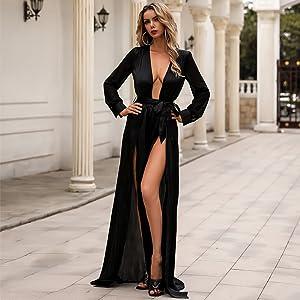 Sheer long sleeves maxi dress