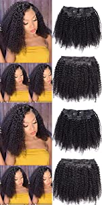 WENYU Afro Kinky Curly Clip in Hair Extensions Human Hair For Black Women