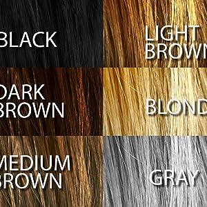 black light brown dark brown grey medium brown blonde