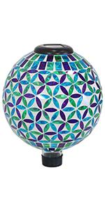 Cool Blooms Mosaic Glass Gazing Globe
