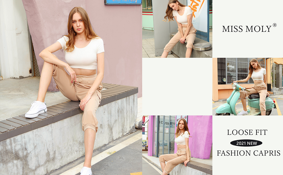 MISS MOLY WOMENS LOOSE FIT CAPROS