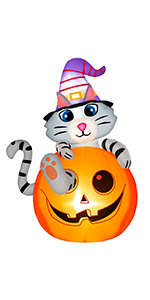 Inflatable Cat in Pumpkin with Wizard Hat